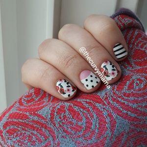 2/$20 retro summer rose stripes new incoco nails